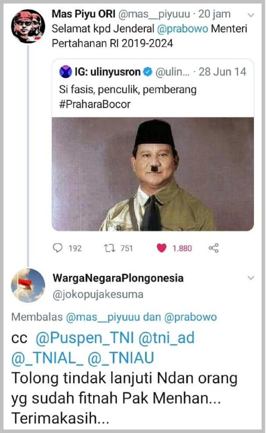 "Orang yang difitnah buzzer Jokowi ""Si fasis, penculik, pemberang"" kini jadi Menhan"