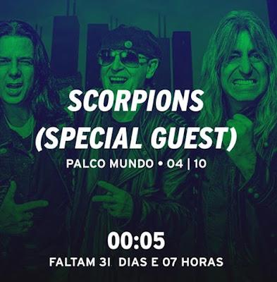 Montagem com Scorpions (Pawel Maciwoda, Klaus Meine e Mikkey Dee) em tom esverdeado, com a informação: Scorpions (Special Guest) Palco Mundo, 4 de setembro, às 00:05h.