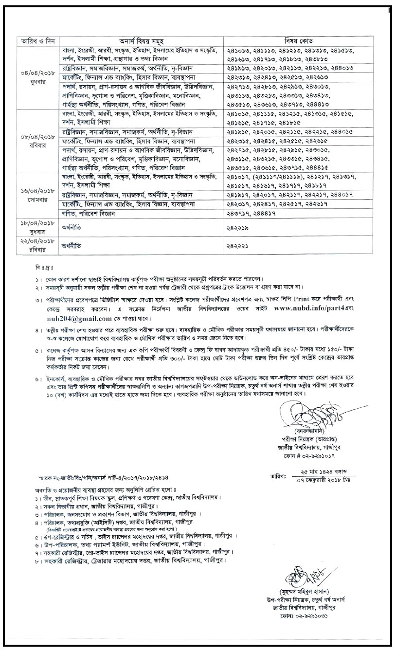 National University Honours 4th Year Exam Routine 2018