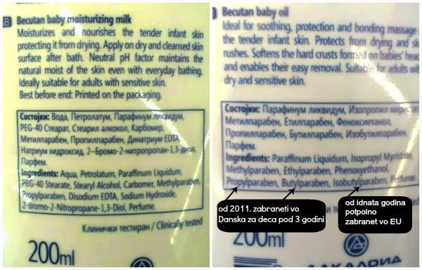 парабени и минерални масла во козметика