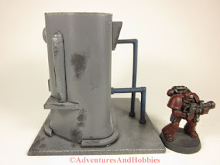 Miniature 25-28mm scale industrial processing unit T578 - side view A - UniversalTerrain.com