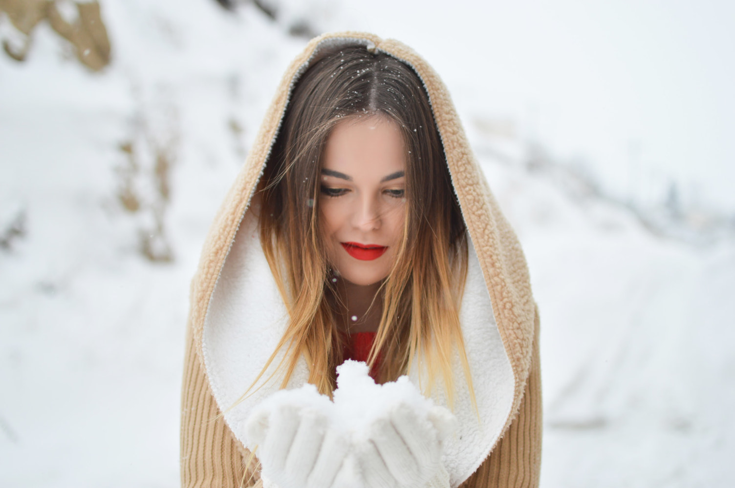 beautiful woman and snow
