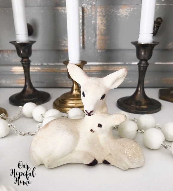 mother baby deer white felt figurine Christmas decor vintage