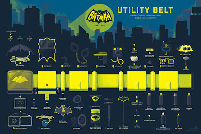 "Batman ""Utility Belt"" Screen Print by Tom Whalen x Mondo"