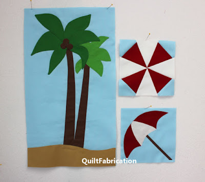 green palm trees and red and white umbrellas