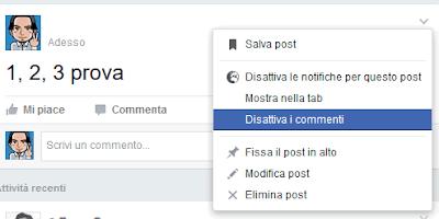 Disattivare commenti gruppo facebook