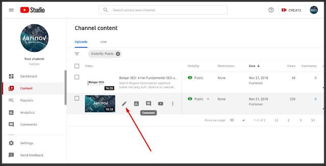 edit video di Youtube Channel Content