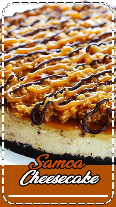 "This Samoa Cheesecake recipe is inspired by the famous Girl Scout cookies (a.k.a. ""Caramel Delights""). It's a simple vanilla cheesecake base, made with an Oreo crust, and topped with caramel, toasted coconut and drizzled with chocolate. #dessert"