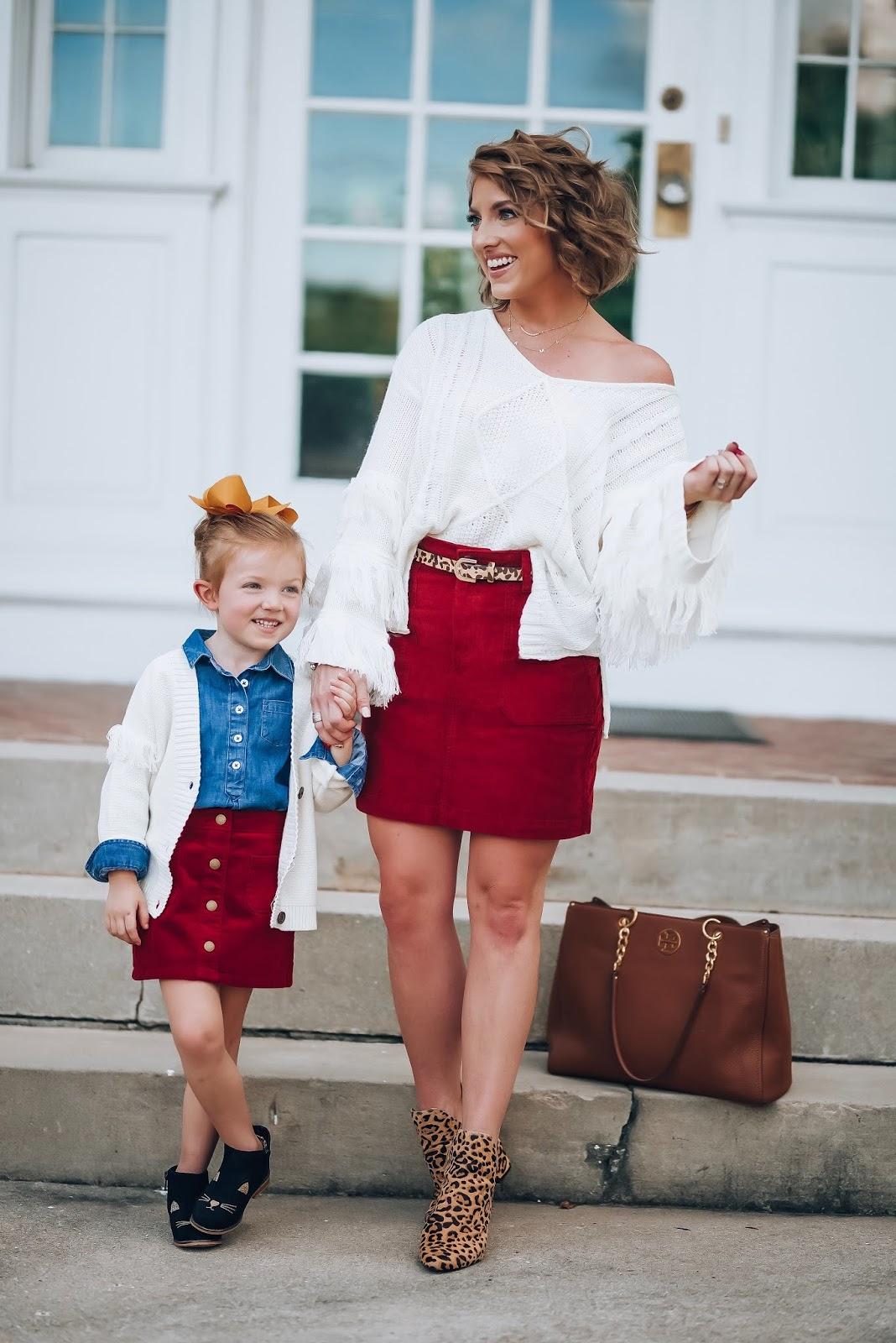 Fall Style: Corduroy Skirts & Fringe Detail Sweaters - Something Delightful Blog
