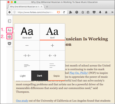 Firefox Reader View with appearance and narration controls