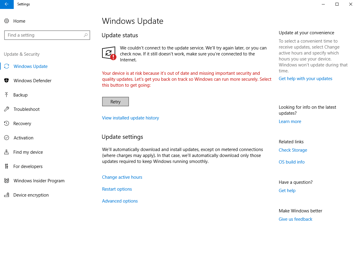 We couldn't connect to the update service
