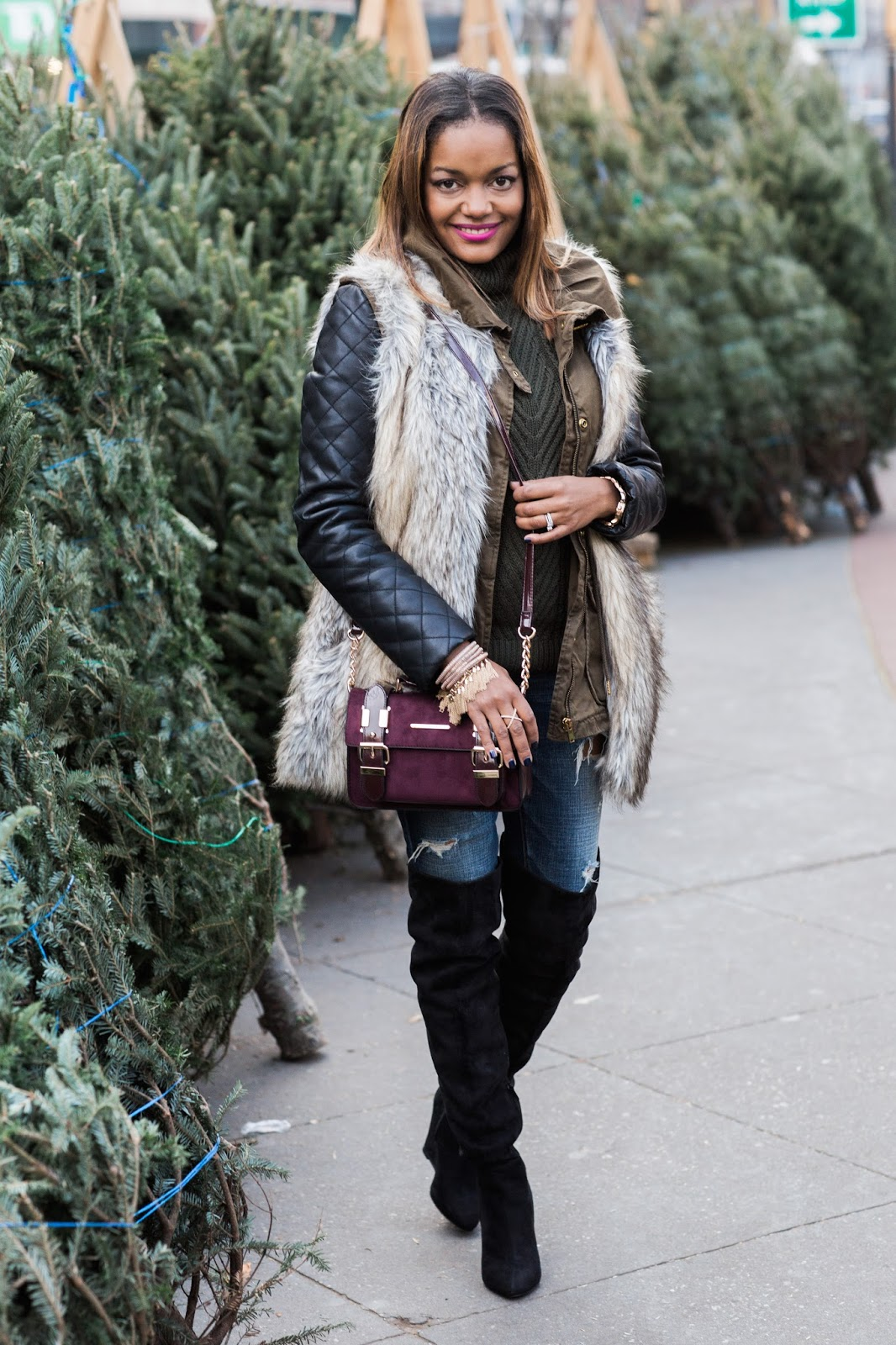 dallas blogger, fashion blogger, new york street style, over the knee boots, just fab boots, asos, cross body bag, how to wear fur vest, faux fur vest, target, bauble bar, winter fashion, how to layer clothes