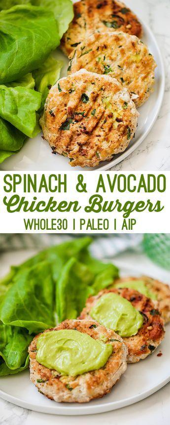 Spinach Avocado Chicken Burgers (Whole30, Paleo, AIP) #recipes #dinnerideas #easydinnerideas #easysaturdaydinnerideas #food #foodporn #healthy #yummy #instafood #foodie #delicious #dinner #breakfast #dessert #lunch #vegan #cake #eatclean #homemade #diet #healthyfood #cleaneating #foodstagram