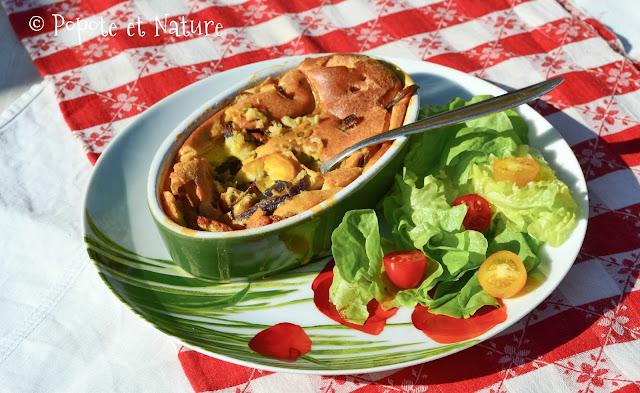 clafoutis aux courgettes jaunes, oignons rouges et cumin