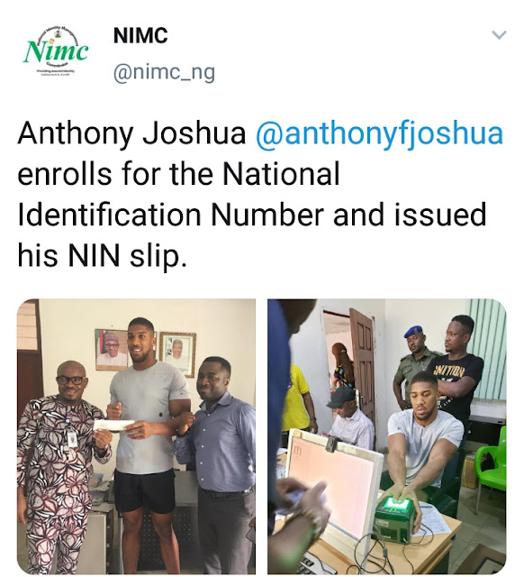 International Boxer Anthony Joshua Applies For National Identification Number