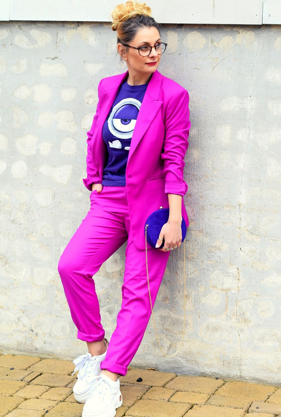 Violett-Pink-Hosenanzug-Outfit