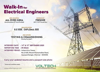 BE / Diploma Fresher Walk-in Interview For Voltech Eco Tower, Ayyappathangal, Chennai