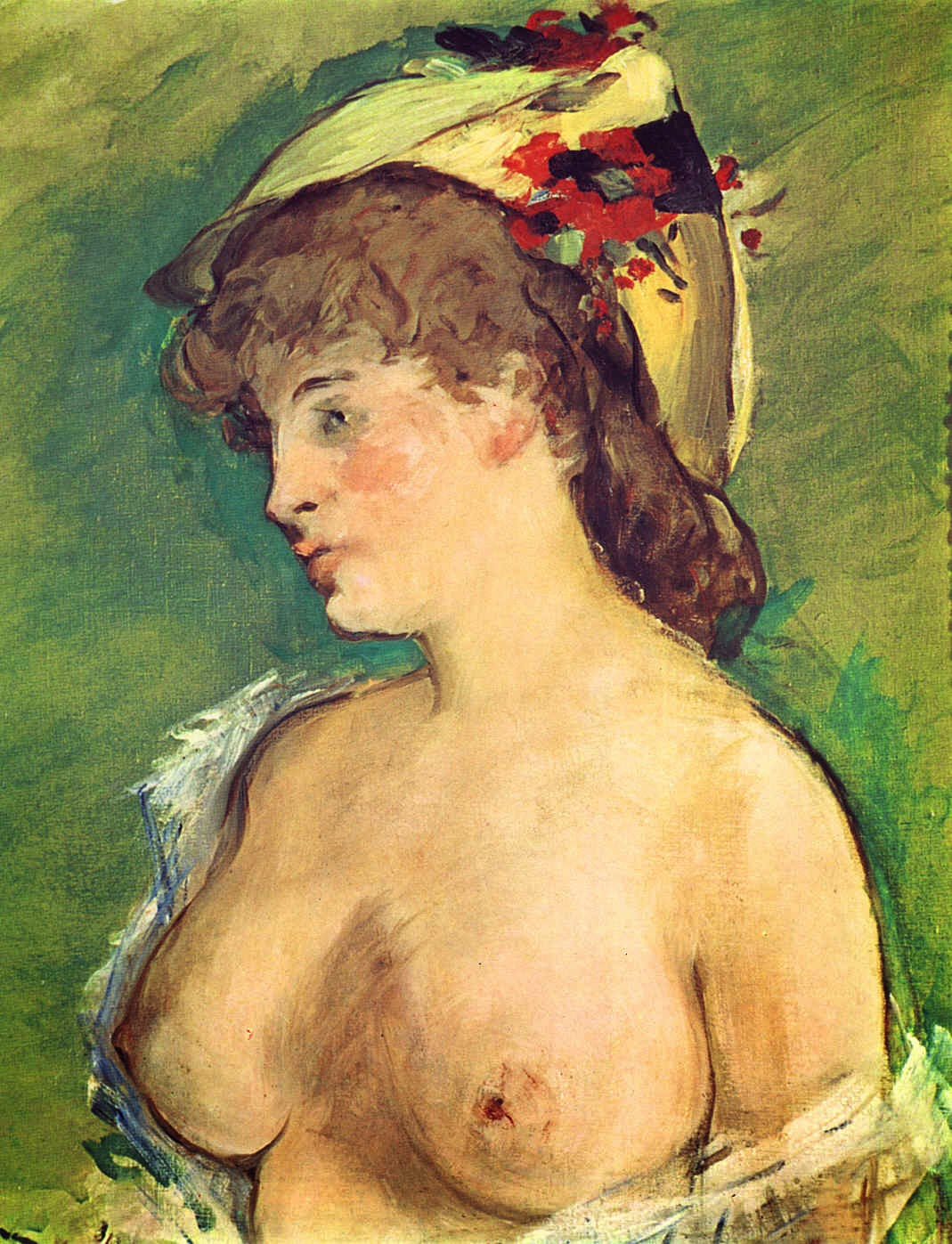 Mulher Loura com os Seios Nus - Pinturas impressionistas pintadas por Édouard Manet