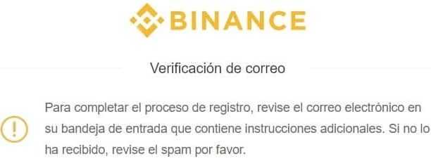 verificación de correo electrónico en binance