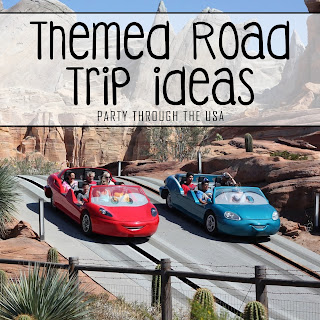 "Picture of Pixar Cars ride at Disney's California Adventure with word overlay saying ""Themed Road Trip Ideas"""