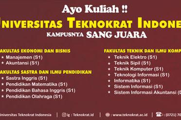 Lengkap! Daftar Fakultas dan Program Studi Universitas Teknokrat Indonesia