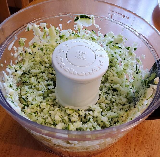 shredded zucchini using a food processor