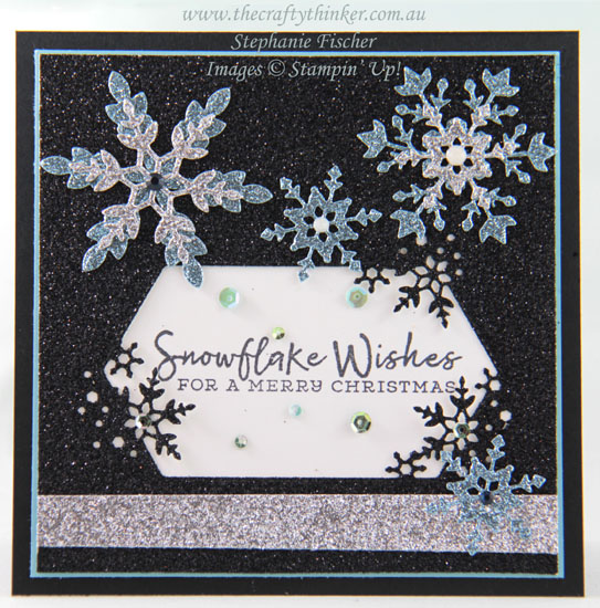 #thecraftythinker #stampinup #snowflakewishes #xmascard #cardmaking , Snowflake Wishes Bundle, Glittery Black Christmas card, Stampin' Up Demonstrator, Stephanie Fischer, Sydney NSW