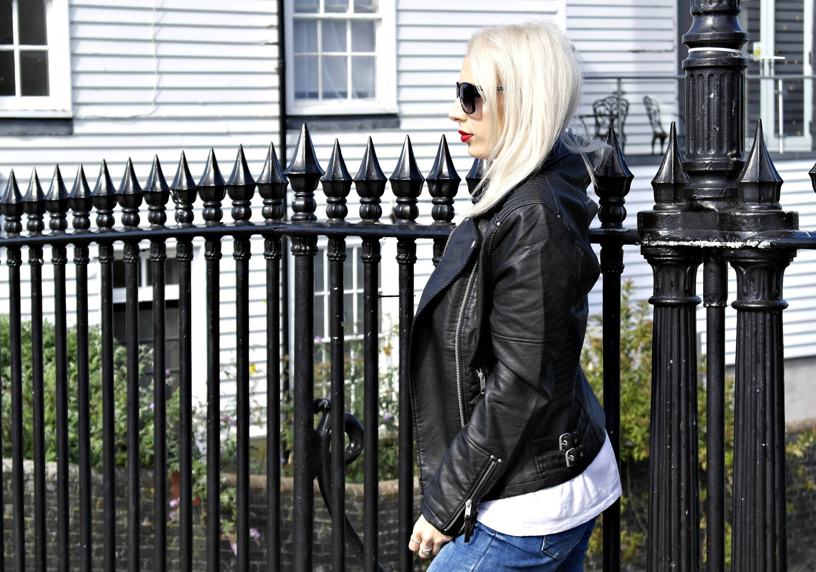 Faux leather biker jacket from warehouse with zip details