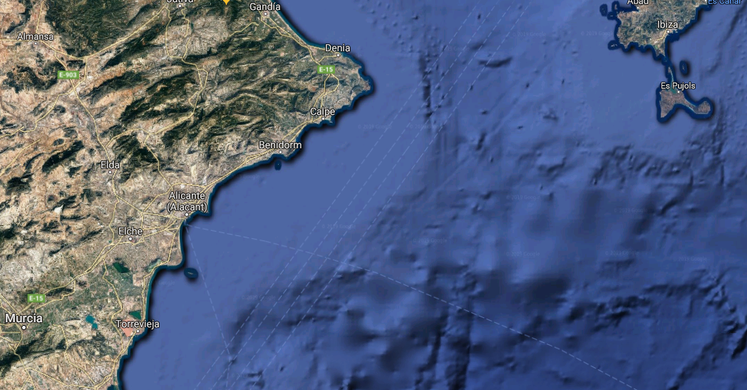 Relief map of mountains in the province of Alicante, Spain