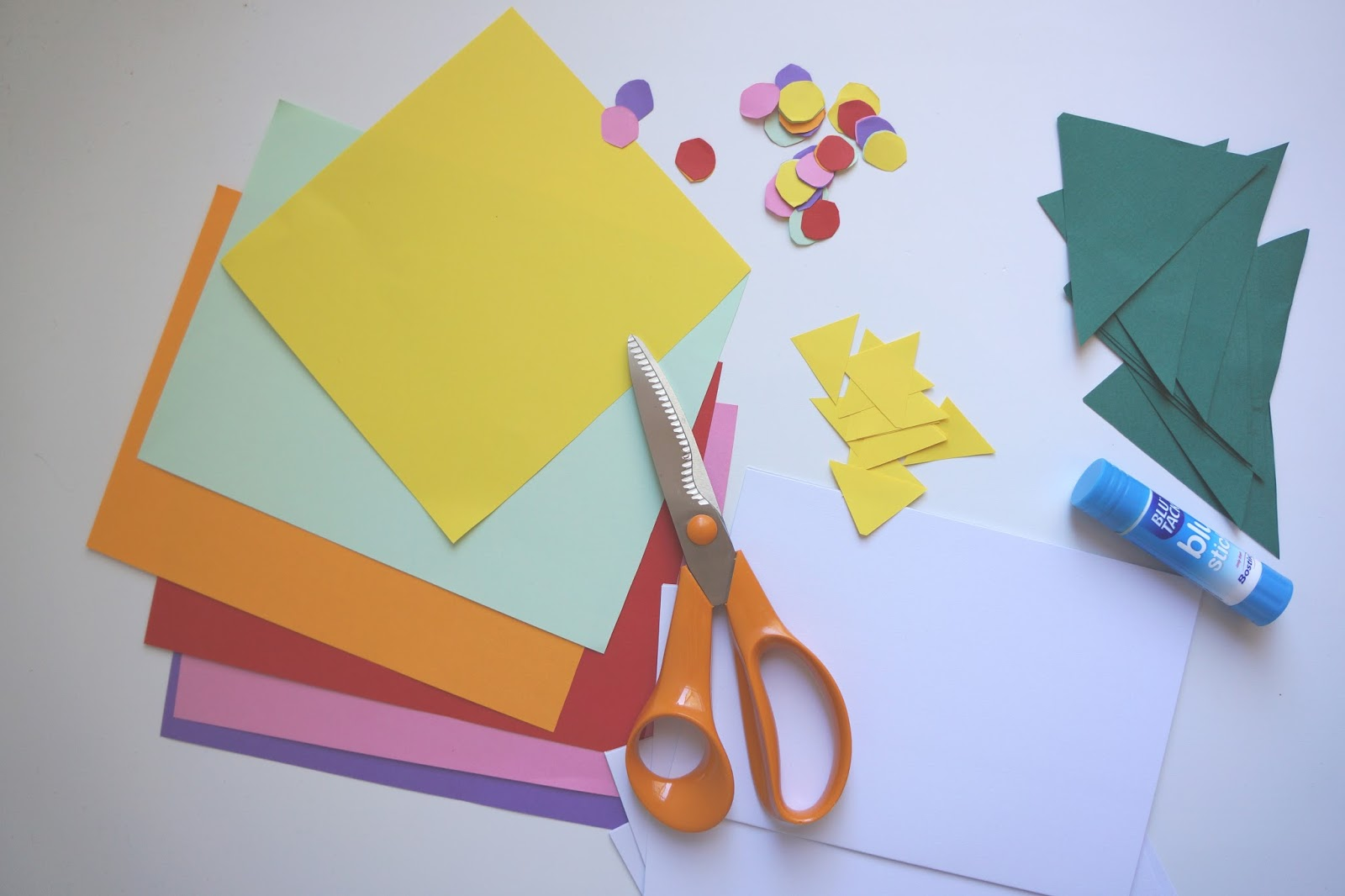 coloured paper and scissors