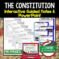 The Constitution, American History Guided Notes, American History Interactive Notebook, Google and Print, American History Note Taking, American History PowerPoints, American History Anticipatory Guides