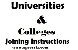Download Joining Instructions for All Universities and Colleges