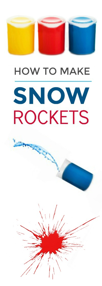 SNOW ROCKETS!  A super fun winter activity for kids that combines art & science.  #snowrockets #winterscienceforkids #winteractivitiesforkids