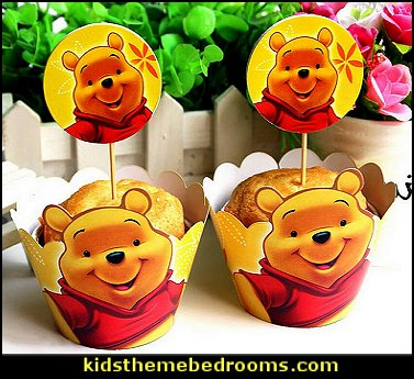 Winnie the Pooh Cupcake Mufiin Wrappers Toppers Kit for Kids Themed Birthday Party Baby Shower  bee themed party - bumble bee decorations - Bumble Bee Party Supplies - bumble bee themed party - Pooh themed birthday party - spring themed party - bee themed party decorations - bee themed table decorations - winnie the pooh party decorations - Bumblebee Balloon -  bumble bee costumes