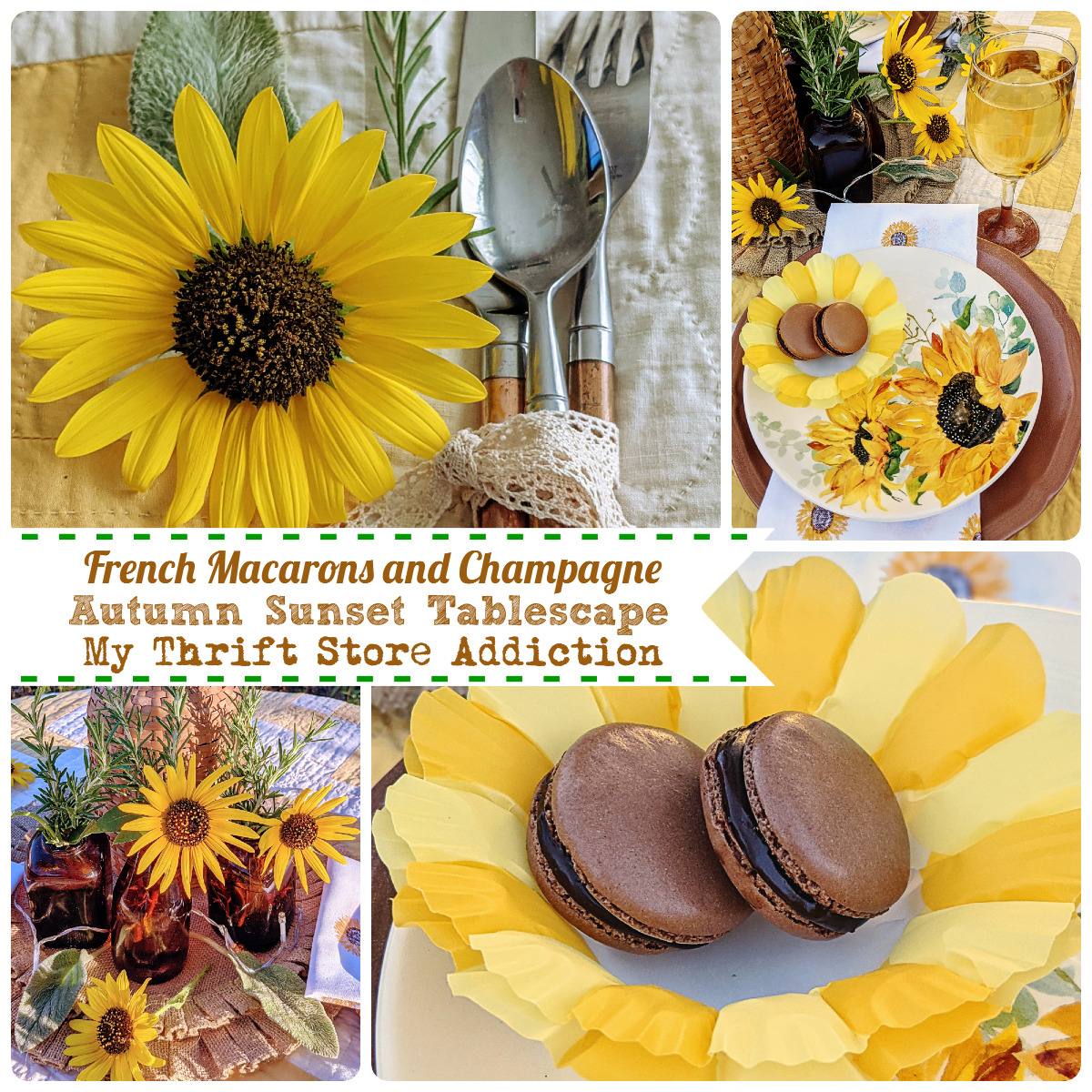 French macarons and champagne in the garden fall table