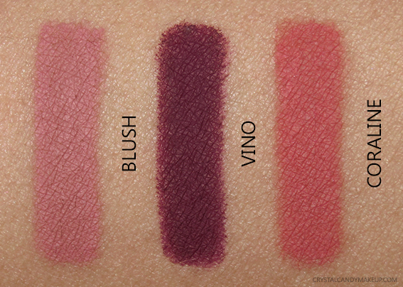 Lise Watier Twist Sharp Automatic Long-Lasting Lip Stylos Blush Coraline Vino Photos Swatches