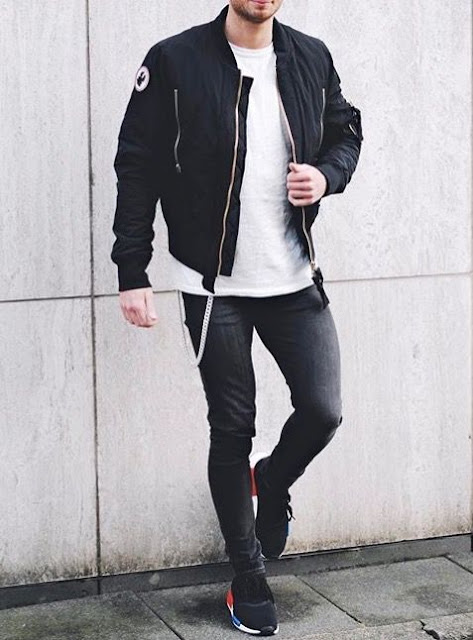 jaqueta bomber preta masculina