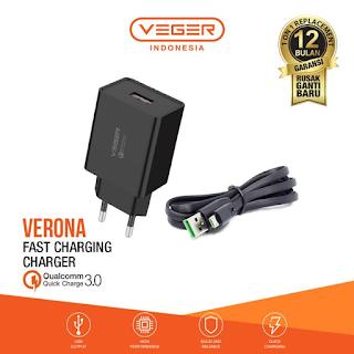 Adaptor Kepala Veger Verona 1 Port USB QC 3.0 Quick Charger