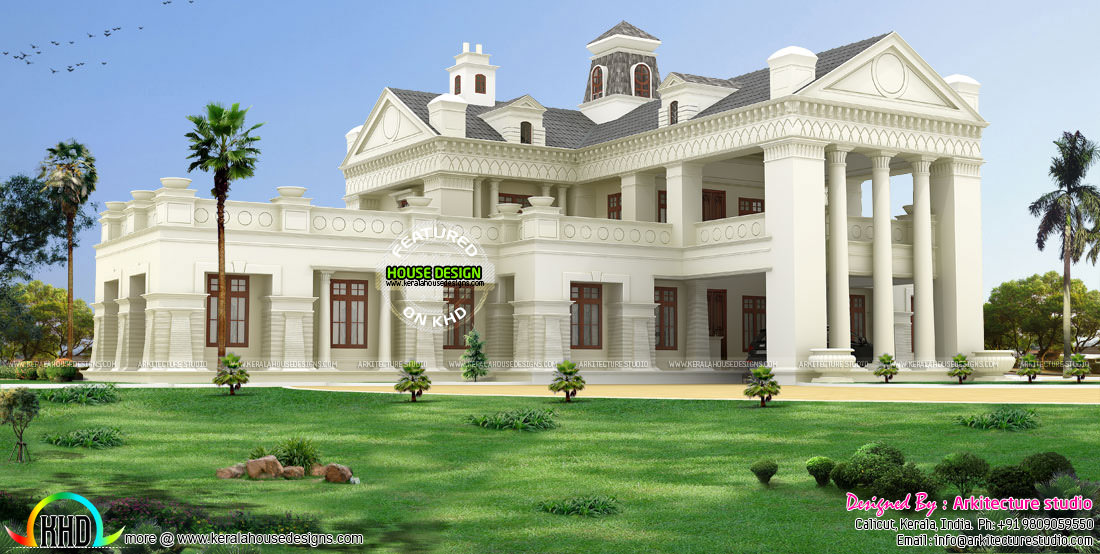 Luxury colonial model indian home design kerala home for Colonial luxury house plans