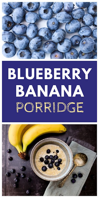 Creamy Blueberry, Banana and Coconut Porridge made with fresh blueberries, fresh banana and dried coconut for a tropical start to the day