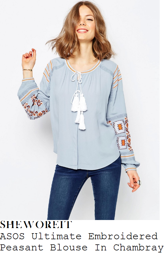 ferne-mccann-asos-light-blue-white-orange-floral-aztec-embroidered-tassel-tie-detail-long-sleeve-peasant-blouse