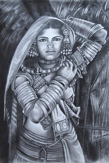 Aadivasi Woman, painting by Hutoxi Wadia ( www.indiaart.com)