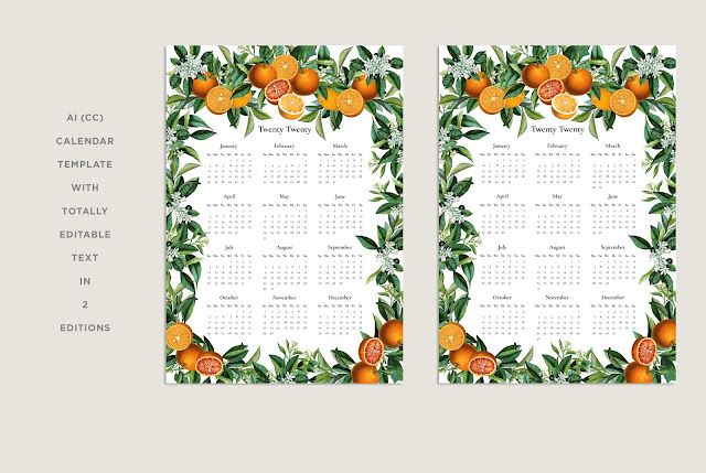 Vintage Orange 2020 yearly calendar