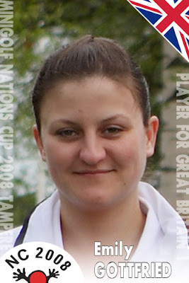 Emily Gottfried's player card at the 2008 Nations Cup in Tampere, Finland