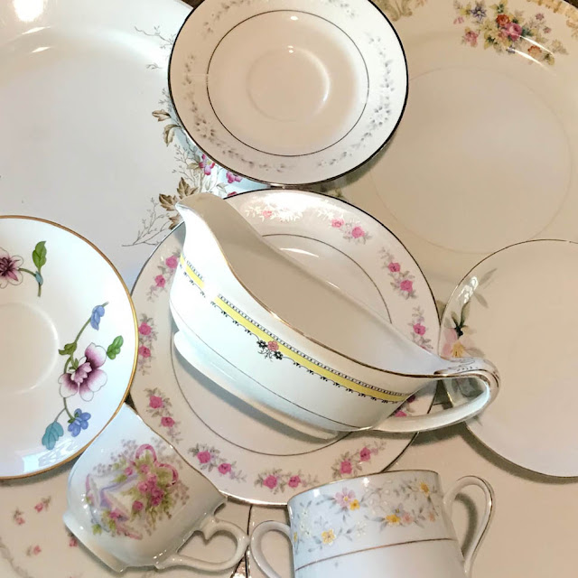 Mismatched Vintage China on Thistle Thicket Studio. www.thistlethicketstudio.com