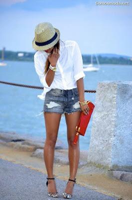 Pantalones cortos de mezclilla mujer