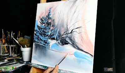 BLUE WINTER - STEP BY STEP - ACRYLIC PAINTING TECHNIQUES ART VIDEO DEMO BY DRANITSIN