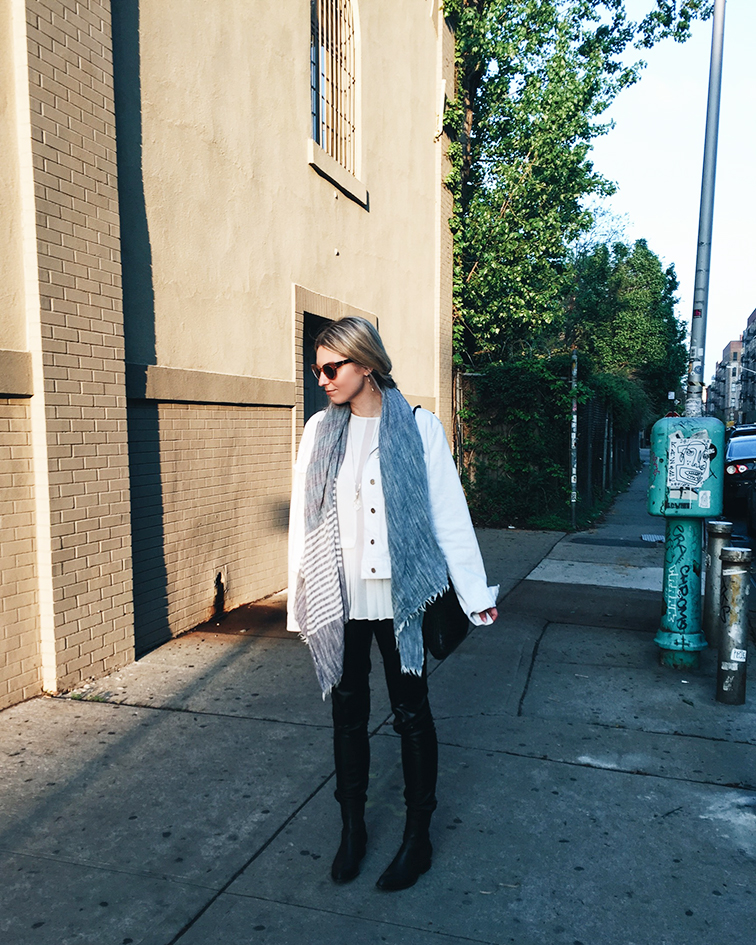 heleneisfor, J Brand Jeans denim jacket, Trash & Vaudeville vegan leather pants, Alexander Wang Anouck boots, Club Monaco top, Bottega Veneta crossbody bag, Brooklyn