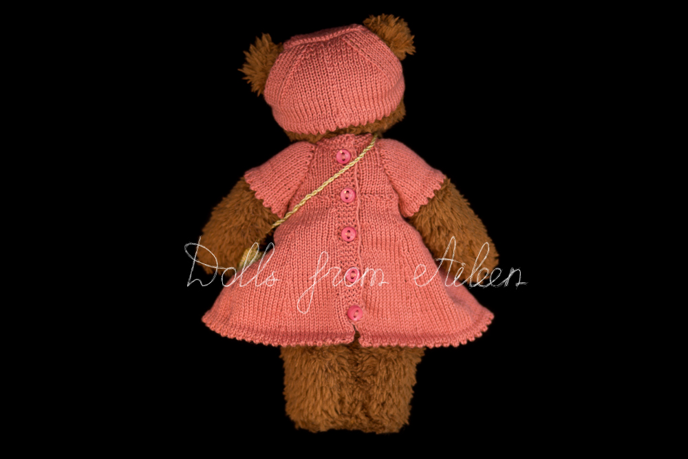 ooak artist teddy bear wearing pink dress, view from behind
