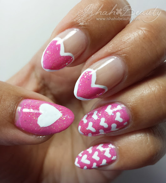 Pink Hearts Valentine's Day Nail Art